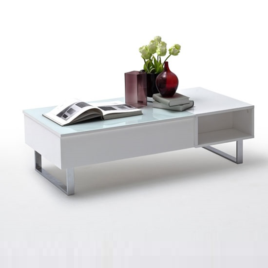 Abbey Coffee Table High Gloss White With 2 Pull Out Drawers