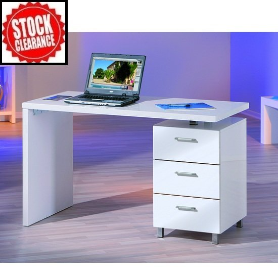 Daniele Computer Desk In White High Gloss With Storage