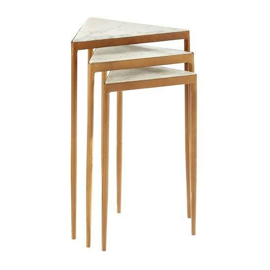 Jolene Marble Nesting Tables In White With Gold Finish Legs
