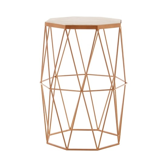 Jolene Octagon Side Table In Marble Top With Gold Frame_2