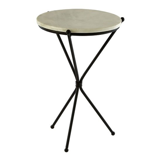 Jolene Marble Side Table Round In White With Black Tripod Base