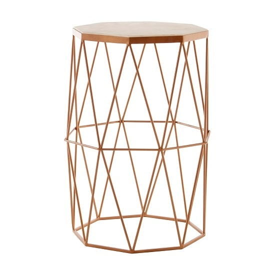 Jolene Octagon Side Table In Marble Top With Gold Frame_3