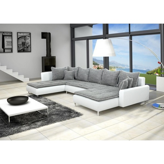 Jonas Fabric And PU Corner Sofa Bed In White And Grey