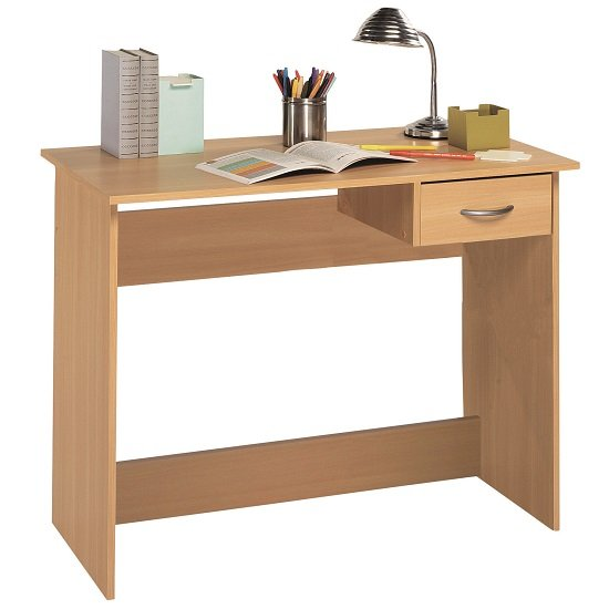 Photo of Jonas wooden computer desk in beech with 1 drawer