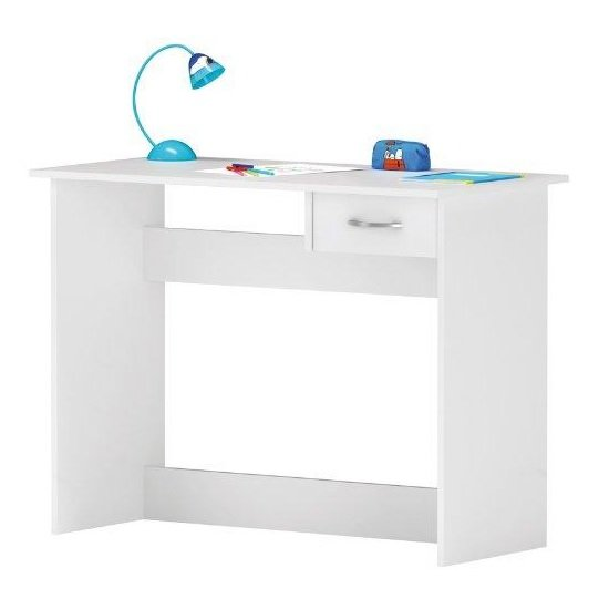 Photo of Jonas wooden computer desk in pearl white with 1 drawer