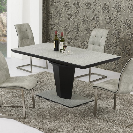 Jonnie Extending Dining Table In Grey Stone Effect And Black