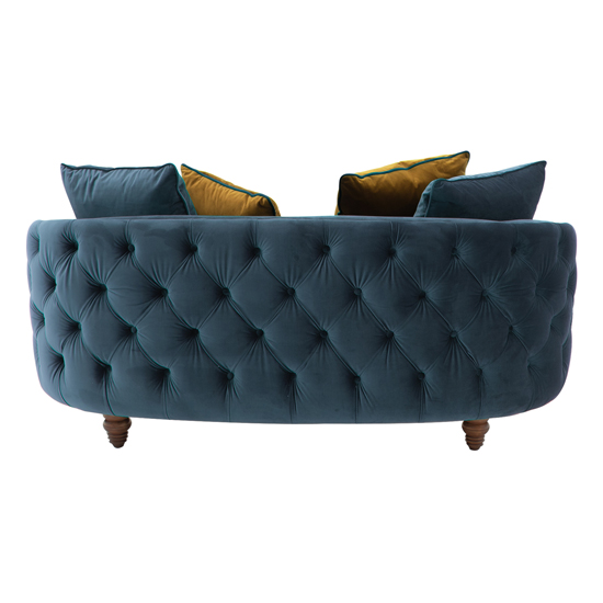 Jools Velvet 2 Seater Sofa In Blue With Scatter Cushions_2