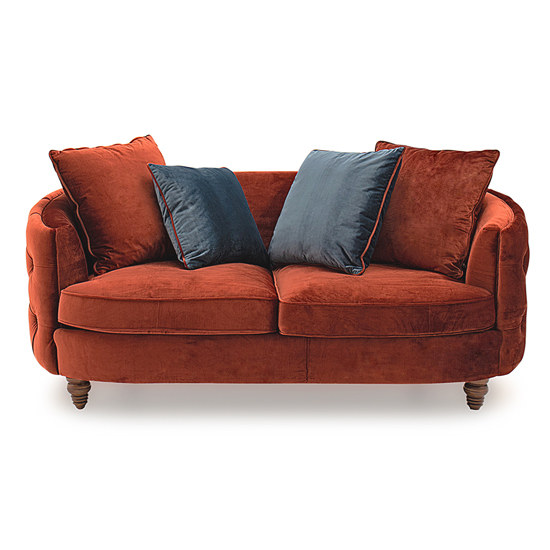 Jools Velvet 2 Seater Sofa In Copper With Scatter Cushions