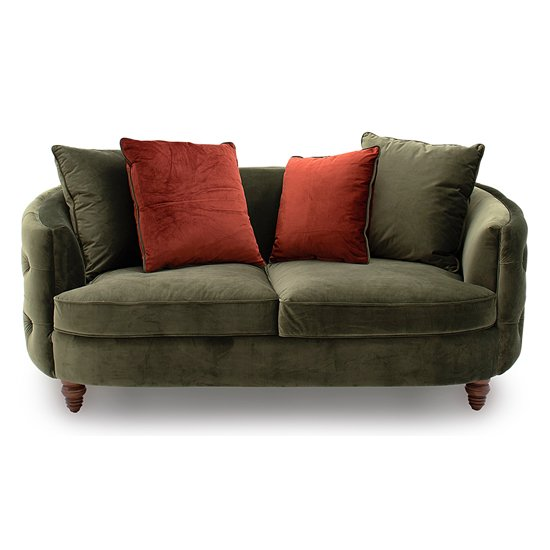 Jools Velvet 2 Seater Sofa In Olive With Scatter Cushions