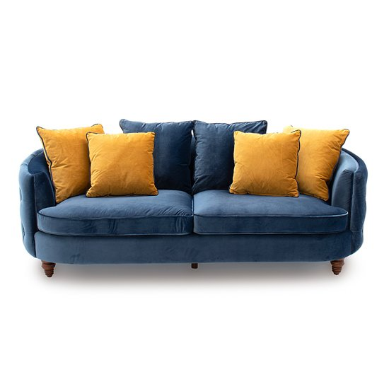 Jools Velvet 3 Seater Sofa In Blue With Scatter Cushions_1