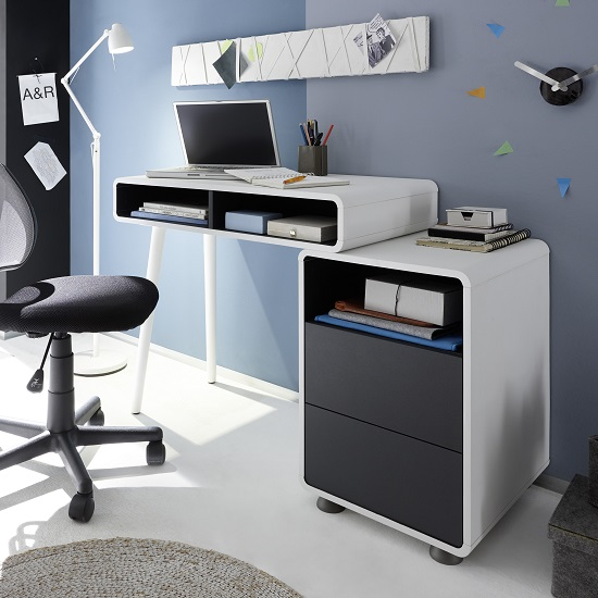 Jordan puter Desk In White And Anthracite With Storage