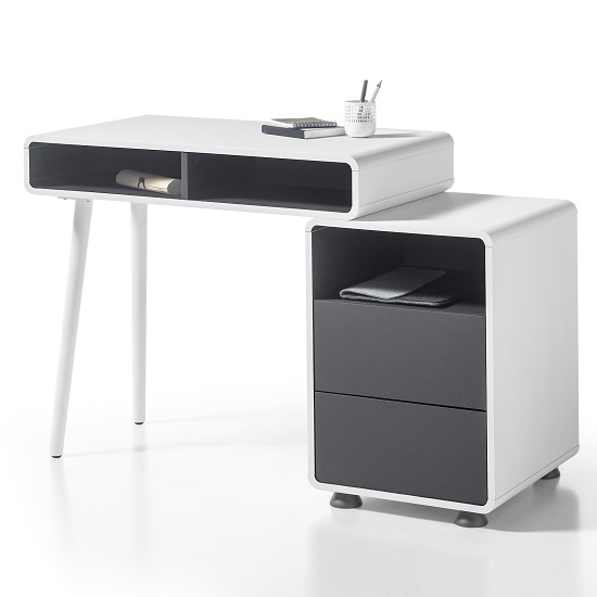 Jordan Computer Desk In White And Anthracite With Storage