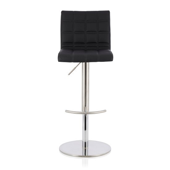 Jorden Bar Stool In Black Faux Leather And Stainless Steel Base