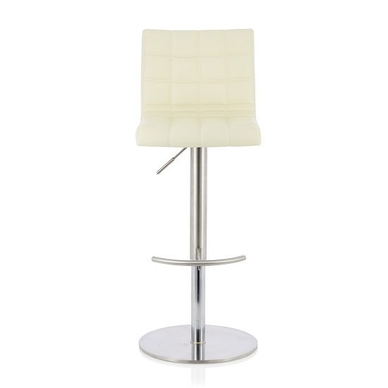 Jorden Bar Stool In Cream Faux Leather And Stainless Steel Base