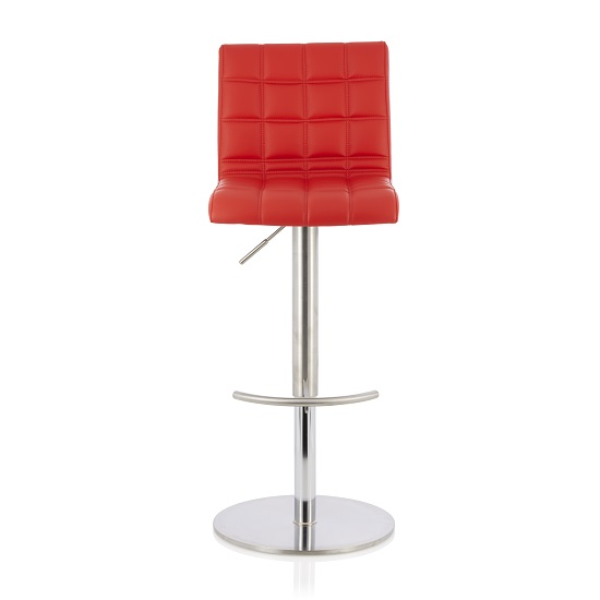 Jorden Bar Stool In Red Faux Leather And Stainless Steel Base