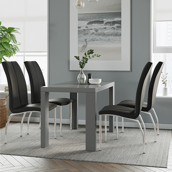 Joule Dining Set In Grey Gloss With 4 Black Boston Chairs
