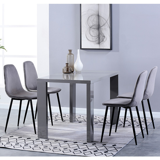 Joule Dining Set In Grey Gloss With 4 Grey Alpine Chairs