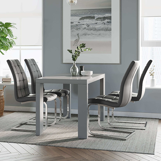 Joule Dining Set In Grey Gloss With 4 Grey New York Chairs