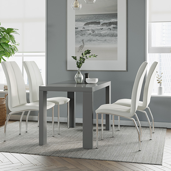 Joule Dining Set In Grey Gloss With 4 White Boston Chairs