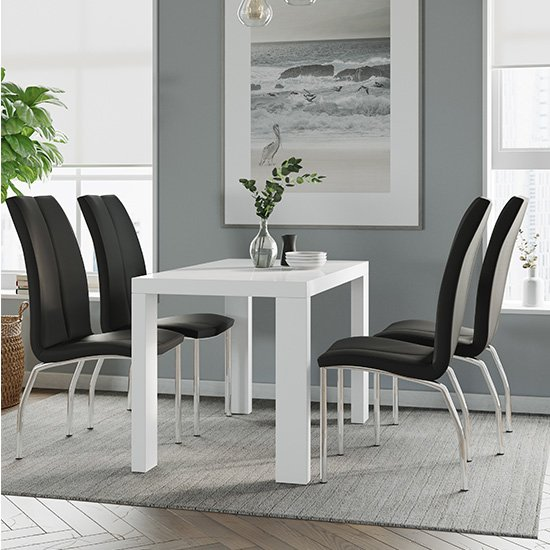 Joule Dining Set In White Gloss With 4 Black Boston Chairs