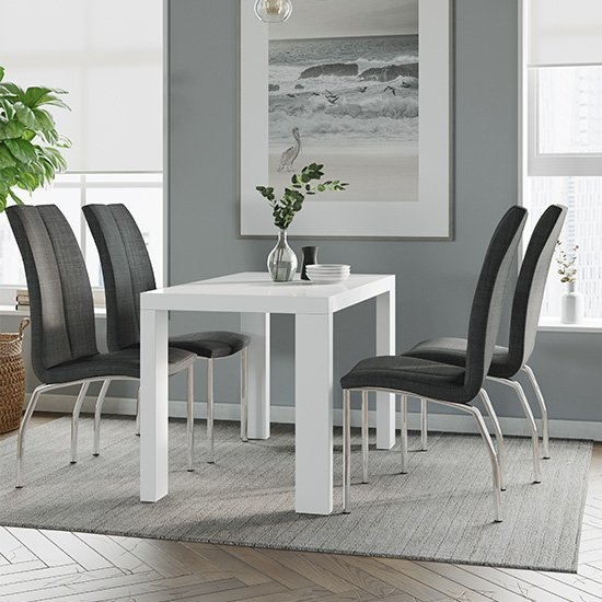 Joule Dining Set In White Gloss With 4 Charcoal Boston Chairs