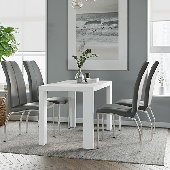 Joule Dining Set In White Gloss With 4 Grey Boston Chairs