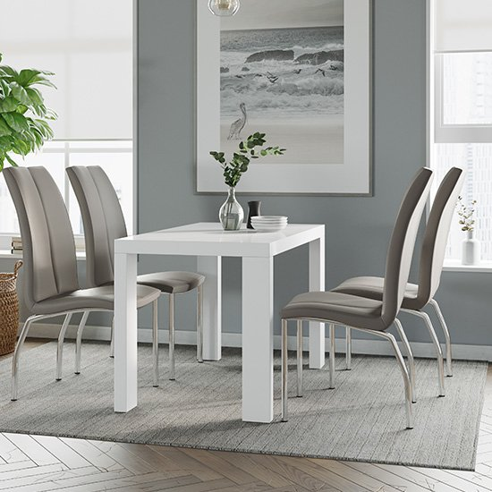 Joule Dining Set In White Gloss With 4 Mink Boston Chairs