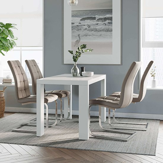 Joule Dining Set In White Gloss With 4 Mink New York Chairs