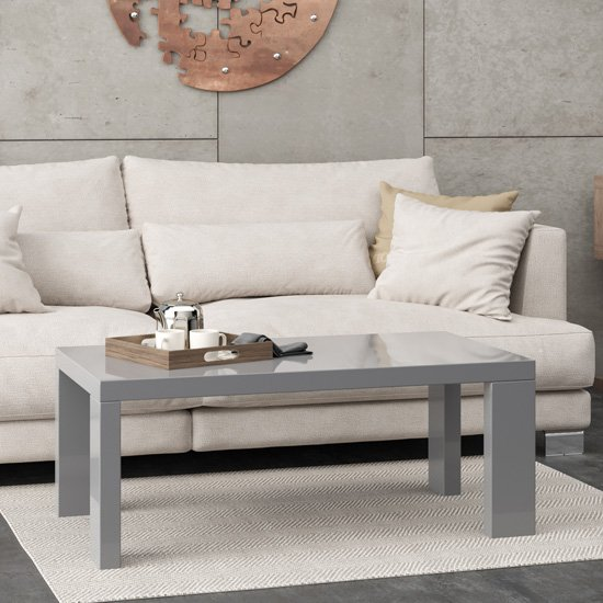 Joule Wooden Coffee Table In Grey High Gloss