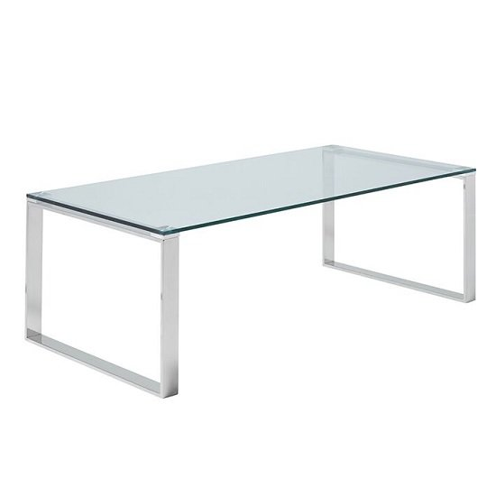 Joyce Coffee Table Rectangular In Clear Glass With Silver Legs