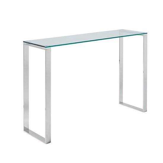 Joyce Console Table Rectangular In Clear Glass With Silver Legs