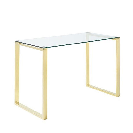 Joyce Glass Computer Desk Rectangular In Clear With Gold Legs