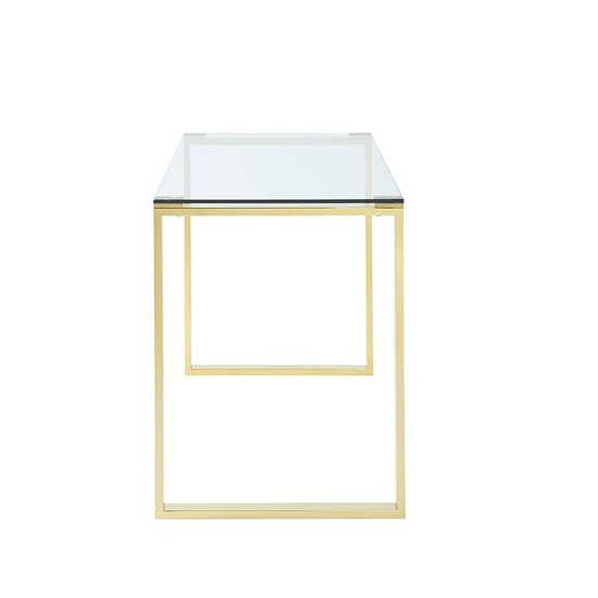 Joyce Glass Computer Desk Rectangular In Clear With Gold Legs_2