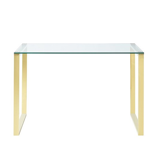 Joyce Glass Computer Desk Rectangular In Clear With Gold Legs_3