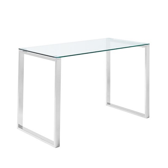 Joyce Glass Computer Desk Rectangular In Clear With Silver Legs