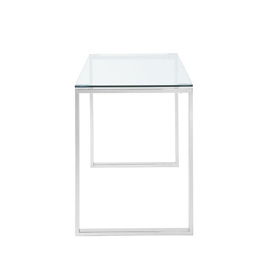 Joyce Glass Computer Desk Rectangular In Clear With Silver Legs_2