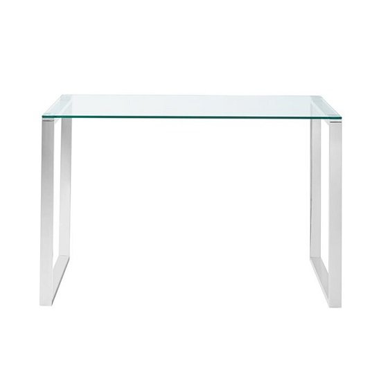 Joyce Glass Computer Desk Rectangular In Clear With Silver Legs_3