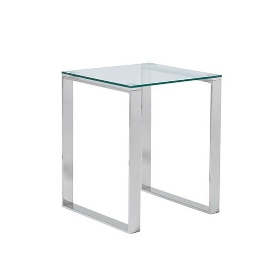 Joyce Lamp Table Square In Clear Glass With Silver Legs