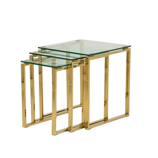 Joyce Glass Nest Of 3 Tables In Clear With Gold Legs
