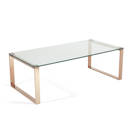 Joyce Coffee Table Rectangular In Clear Glass And Rose Gold Legs