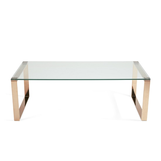 Joyce Coffee Table Rectangular In Clear Glass And Rose Gold