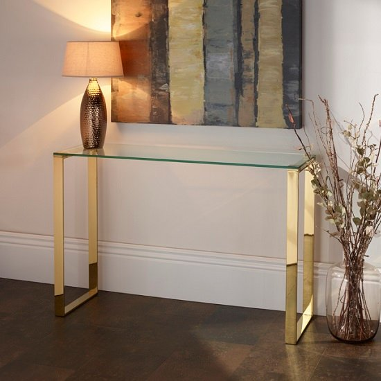 Joyce Console Table Rectangular In Clear Glass With Gold