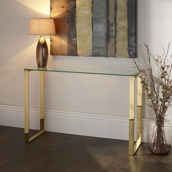 Joyce Console Table Rectangular In Clear Glass With Gold Leg