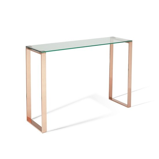 Joyce Console Table In Clear Glass With Rose Gold Legs