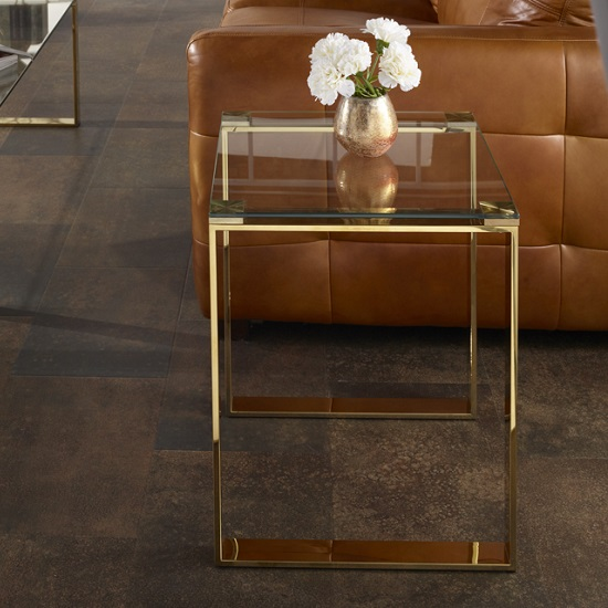 Joyce Lamp Table Square In Clear Glass With Gold Legs