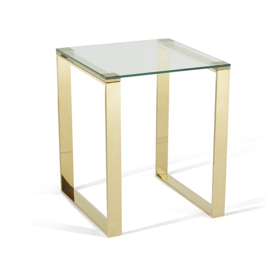 Joyce Lamp Table Square In Clear Glass With Gold Legs_2