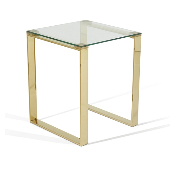 Joyce Lamp Table Square In Clear Glass With Gold Legs_3