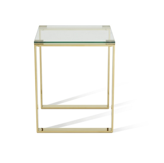 Joyce Lamp Table Square In Clear Glass With Gold Legs_4