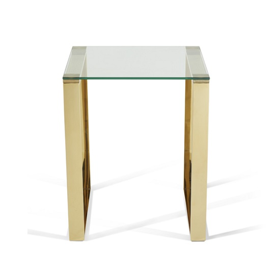 Joyce Lamp Table Square In Clear Glass With Gold Legs_5