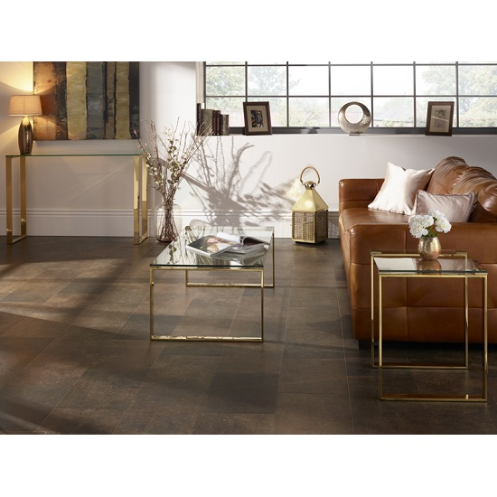 Joyce Lamp Table Square In Clear Glass With Gold Legs_7